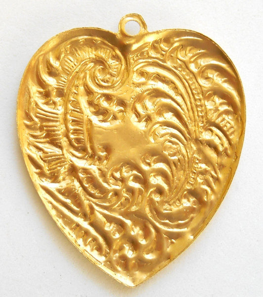 One ornate Victorian raw brass heart pendant with feathers and fronds, brass stamping, 53 x 45mm, made in the USA, C9401 - Glorious Glass Beads