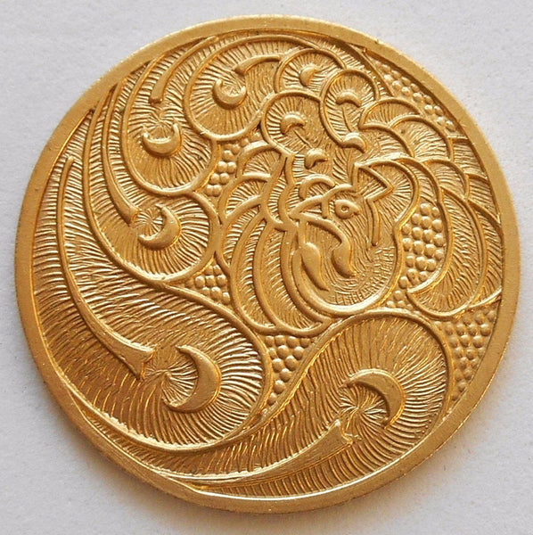 One raw brass art nouveau peacock medallion, pendant, charm, brass stamping, 31mm, made in the USA, C6601