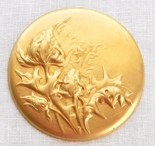 Supplies - One Raw Brass Repousee Floral Medallion, Pendant, Charm, Brass Stamping, 38mm, Made In The USA, C3401