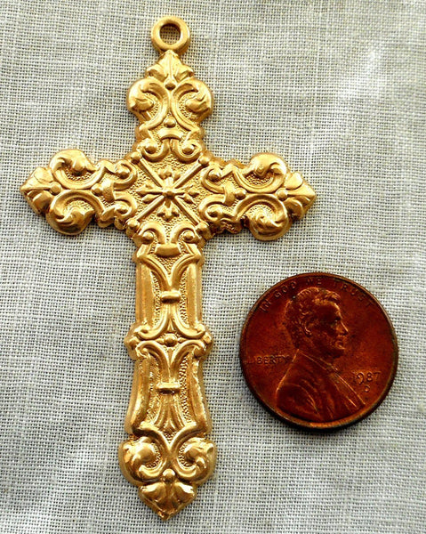 One Raw Brass Stamping, a large, ornate Victorian cross, pendant, charm, 61mm x 35mm, made in the USA, C2901 - Glorious Glass Beads