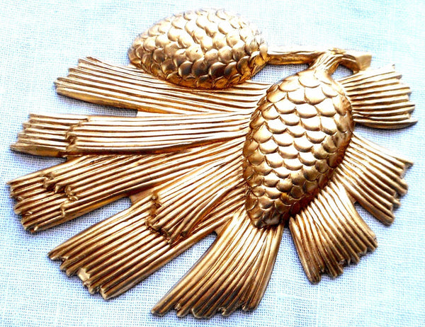 One raw brass stamping, a very large arts and crafts pine cone & needles pendant, connector, 53mm x 72mm, USA made, C5901