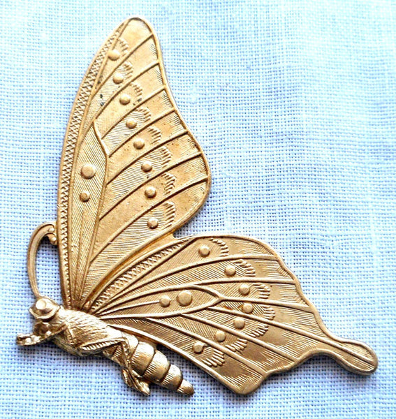 One raw brass stamping, art nouveau, Victorian butterfly, pendant, charm, connector, 47mm x 28mm, USA made, C1901