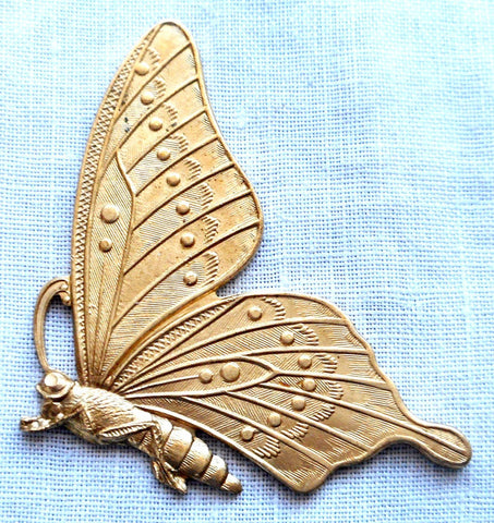 One raw brass stamping, art nouveau, Victorian butterfly, pendant, charm, connector, 47mm x 28mm, USA made, C02101 - Glorious Glass Beads