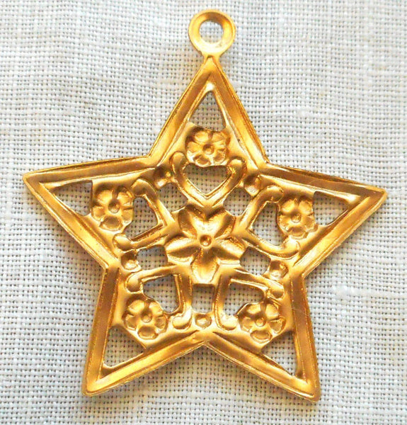 One raw brass stamping, Victorian floral star charm, pendant, earring, 28mm, USA made, C0201 - Glorious Glass Beads