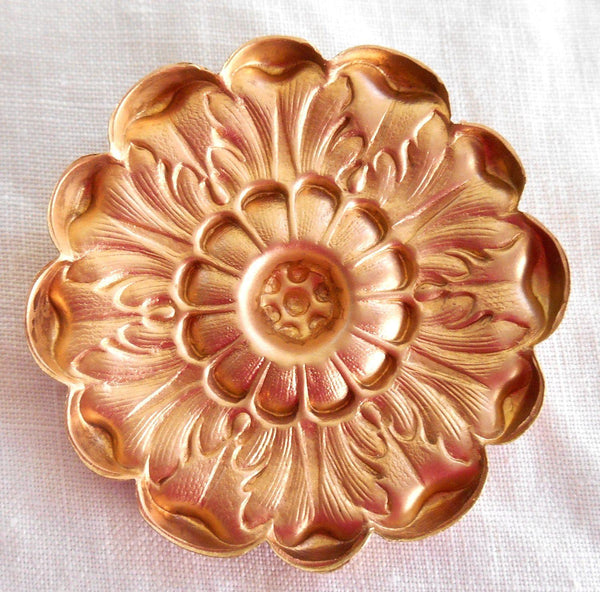 Supplies - One Raw Brass Victorian Flower Head, Medallion, Pendant, Charm, Brass Stamping, 42mm, Made In The USA, C73101