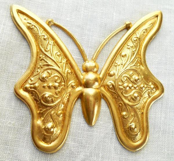 One raw large brass stamping, art nouveau, deco, Victorian butterfly, pendant, charm, connector, 59mm x 56mm, USA made, C8901