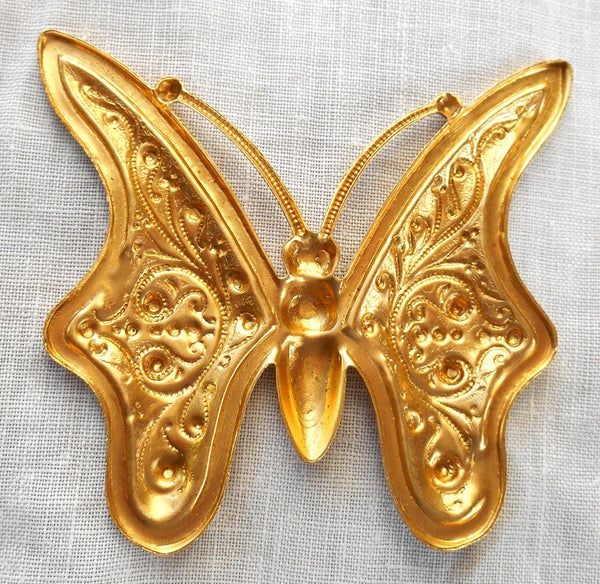 One raw large brass stamping, art nouveau, deco, Victorian butterfly, pendant, charm, connector, 59mm x 56mm, USA made, C8901 - Glorious Glass Beads