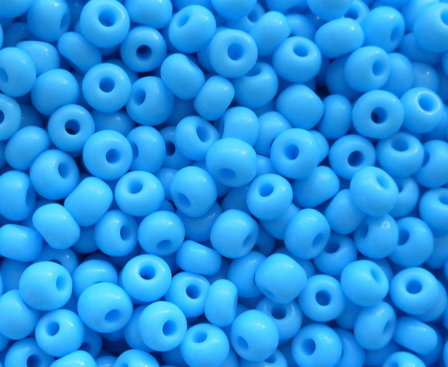 pkg of 24 grams opaque turquoise czech 60 large glass seed beads size