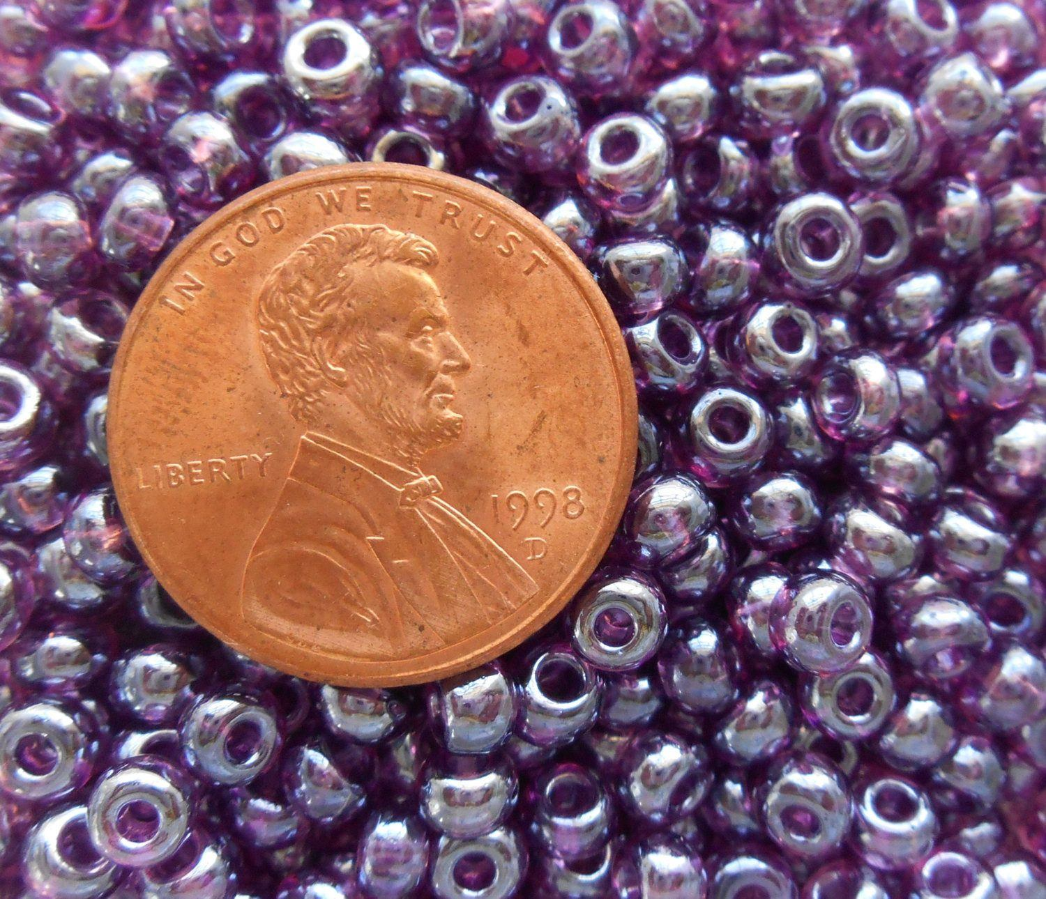 supplies pkg of 24 grams purple luster czech 60 large glass seed
