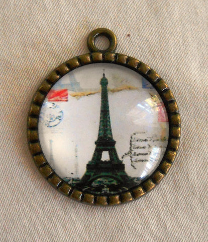 Round Eiffel Tower pendant, Paris France, Antique Bronze, 29mm, Steampunk C3401 - Glorious Glass Beads