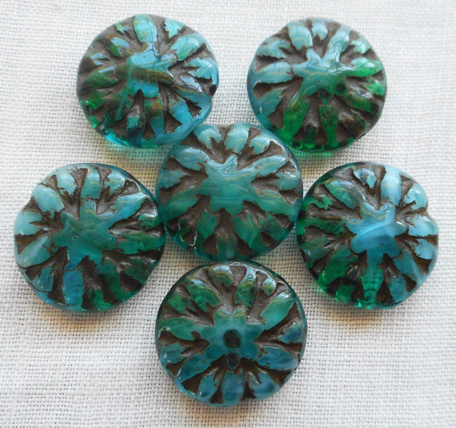 Six 14mm Opaque Translucent Teal Blue Green Picasso Dahlia