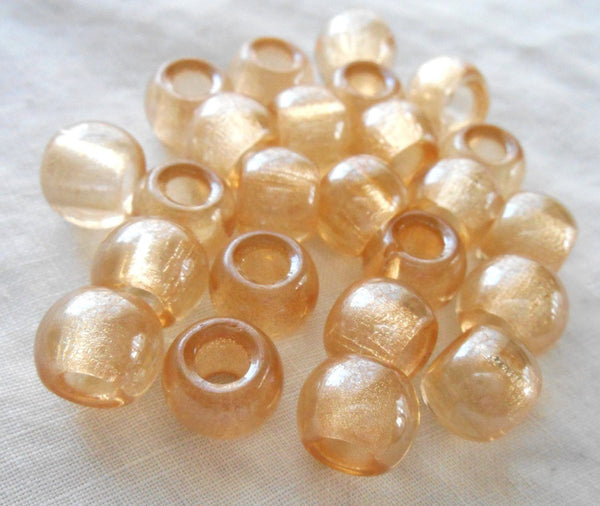 Six large 12mm Crystal Champagne glass round big hole beads, 4.5mm holes, C8401 - Glorious Glass Beads