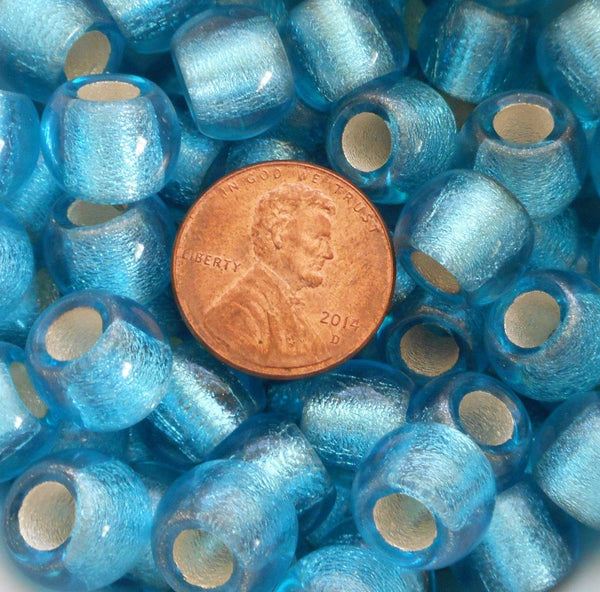 Six round Aqua Blue Silver Lined 12mm large glass beads, big 4.5mm holes, Pandora, European, C7801 - Glorious Glass Beads