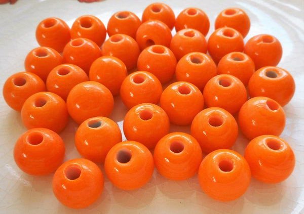 Supplies - Ten 12mm Bright Opaque Orange Big Large Hole Glass Beads With 3mm Holes, Smooth Round Druk Beads, Made In India C8401