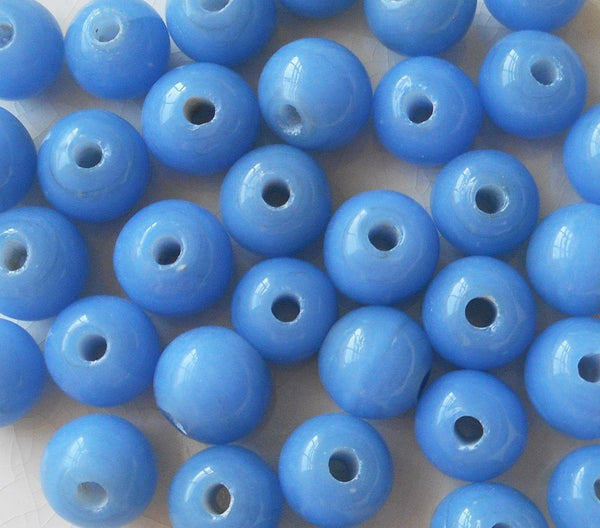 Supplies - Ten 12mm Bright Opaque Sky Blue Big Large Hole Glass Beads With 3mm Holes, Smooth Round Druk Beads, Made In India C8401
