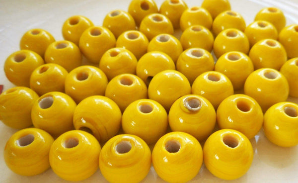 Supplies - Ten 12mm Bright Opaque Yellow Big Large Hole Glass Beads With 3mm Holes, Smooth Round Druk Beads, Made In India C1501
