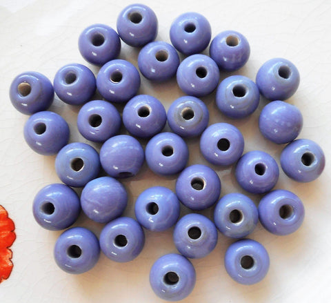 Supplies - Ten 12mm Opaque Blue, Purple, Periwinkle Big Large Hole Glass Beads With 3mm Holes, Smooth Round Druk Beads, Made In India C4601