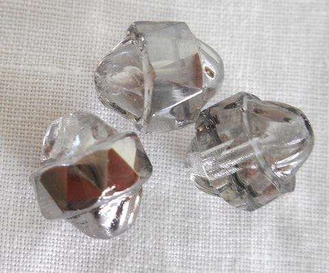 Supplies - Ten Czech Platinum Antique Cut Turbine, Cathedral, Saturn Crystal Glass Beads, 11 X 10mm, C0101