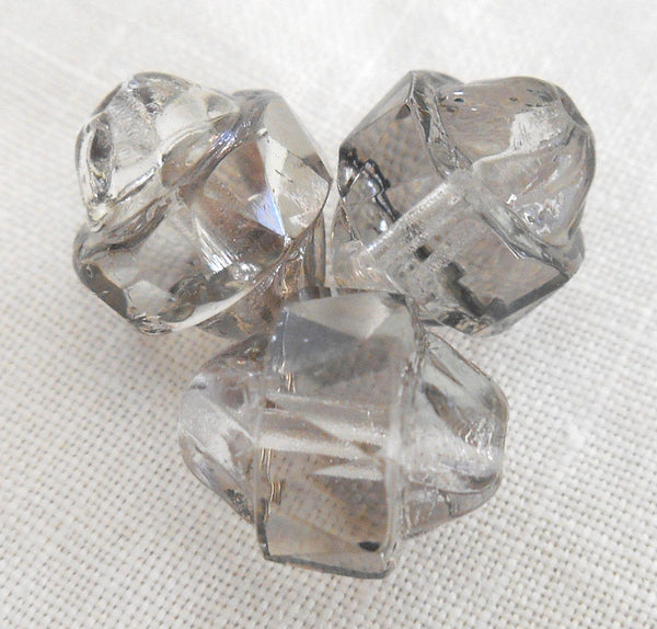 Ten Czech Platinum antique cut turbine, cathedral, saturn crystal glass beads, 11 x 10mm, C0101 - Glorious Glass Beads