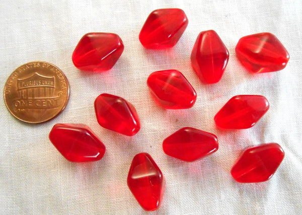 Supplies - Ten Light Garnet, Ruby, Siam Red Chunky Lantern Or Tube Czech Glass Beads, 16 X 13mm, C7310