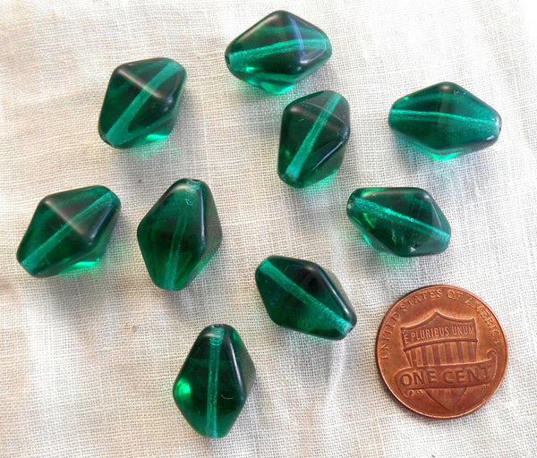 Supplies - Ten Teal Glass Chunky Lantern, Diamond Or Tube Beads, 16 X 13mm, C1210