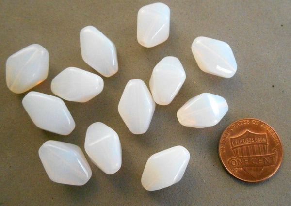 Ten translucent milky white chunky lantern, diamond or tube Czech glass beads, 16 x 13mm, C6310 - Glorious Glass Beads