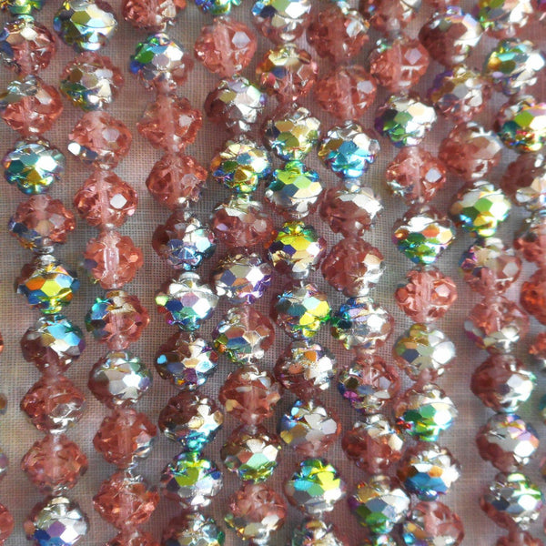 Twelve Vitral Rosaline Pink 7 x 8mm Rosebud beads, antique cut, Czech glass beads C2701 - Glorious Glass Beads