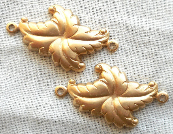 Two Raw Brass stampings, stylized Victorian leaves, Art Deco, Nouveau connectors, earrings, with rings, 27mm x 16mm USA made C2302