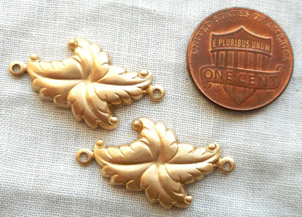 Two Raw Brass stampings, stylized Victorian leaves, Art Deco, Nouveau connectors, earrings, with rings, 27mm x 16mm USA made C2302 - Glorious Glass Beads