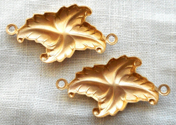 Supplies - Two Raw Brass Stampings, Stylized Victorian Leaves, Art Deco, Nouveau Connectors, Earrings, With Rings, 27mm X 16mm USA Made C2302