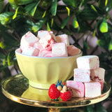 Strawberry flavoured handmade marshmallows