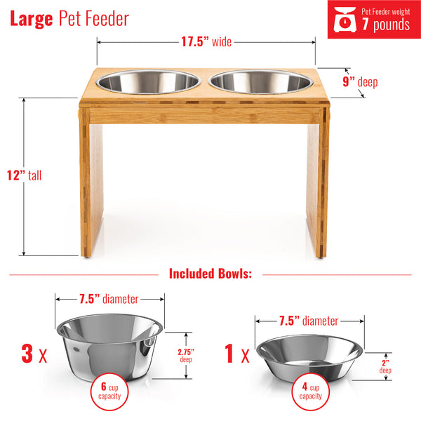 "Premium 12"" Elevated Pet Feeder for Large Dogs"