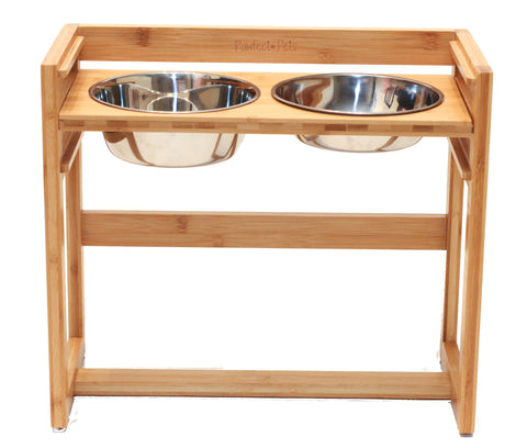 "Adjustable Pet Dog Feeder, 12"", 14"" or 16"" Tall Raised Dog Bowl Stand, Comes with Four Stainless Steel Dog Bowls"