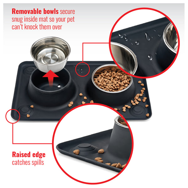 Spill-Proof Pet Bowl Mat for Dogs and Cats