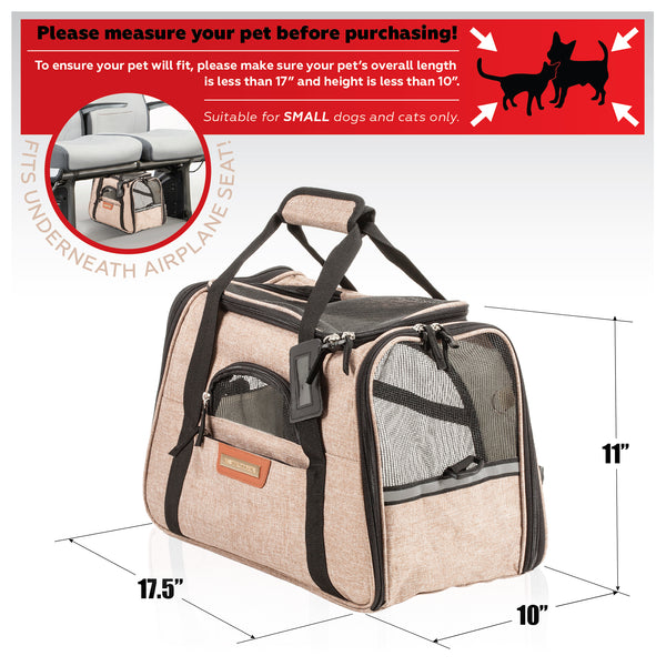 Premium Pet Travel Carrier, Airline Approved, Soft-Sided, Comes with Two Pet Mats, Perfect for Small Dogs and Cats