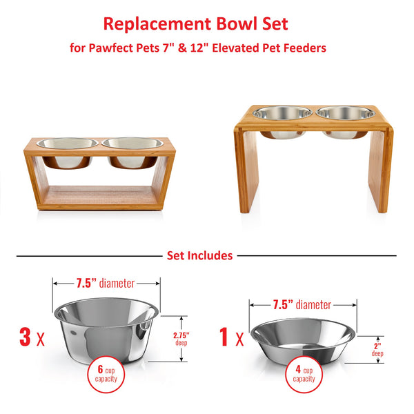 "Replacement Bowls - Medium 7"" & Large 12"" Feeder"