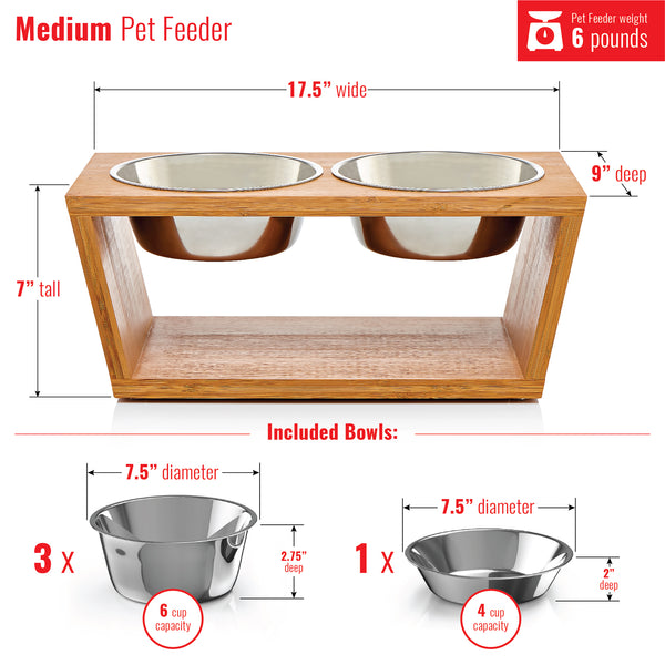 "Premium 7"" Elevated Pet Feeder for Medium Dogs"