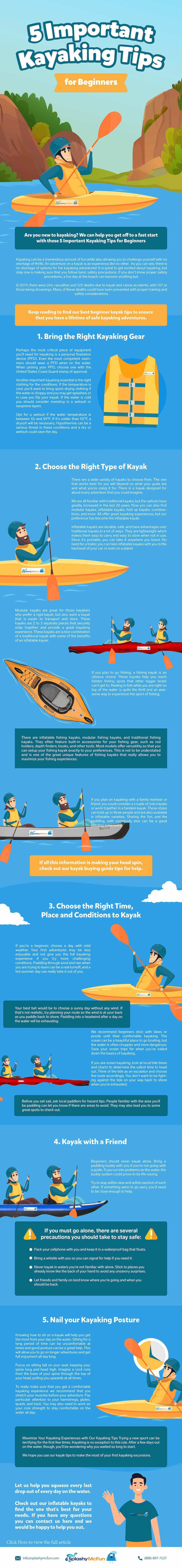 Infographic showing illustrations of the 5 Best Kayaking Tips for Beginners