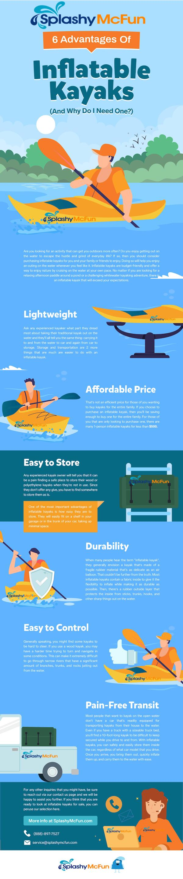 6 Advantages of Inflatable Kayaks Infographic