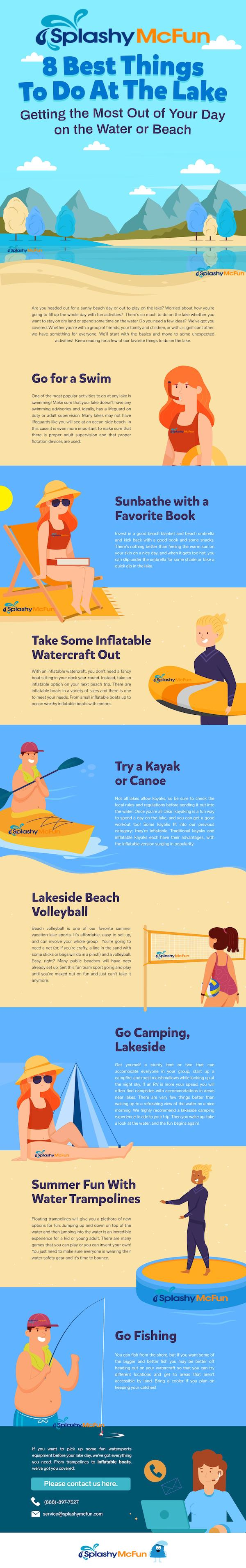 8 Best Things To Do at The Lake Infographic. This image shows all of the 8 best things listed in the blog with images of each activity.