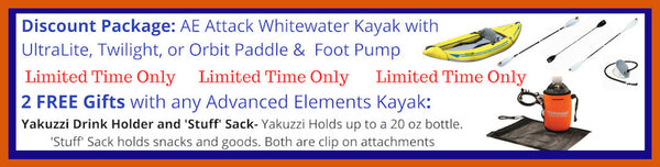 Advanced Elements Attack Whitewater 1 Person Inflatable Kayak Discount Packages and Free Gift