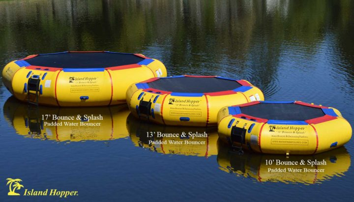 Island Hopper Bounce N Splash Water Bouncer is available in 3 sizes: 17ft, 13ft, and 10ft.  All three of the floating water bouncers are seen here on a lake.