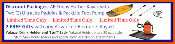 Advanced Elements 2 Person Inflatable Kayak -Friday Harbor Adventure Kayak Discount Packages and Free Gift