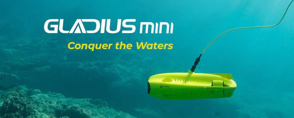 Chasing Gladius Mini Underwater Drones for Sale Graphic.  Best Underwater Drones for Sale