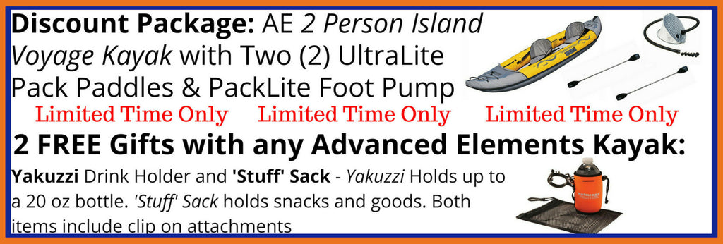 Advanced Elements Island Voyage 2 Person Inflatable Kayak Discount Packages and Free Gifts.
