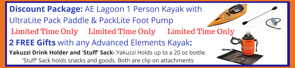 Advanced Elements Lagoon 1 Person Inflatable Kayak Discount Packages and Free Gift Offer.