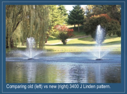 Comparison of the old and new Kasco  3400 J Series Fountain Linden spray pattern.