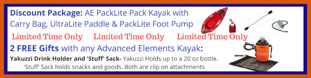 Advanced Elements PackLite 1 Person Inflatable Pack Kayak Discount Packages and Free Gift
