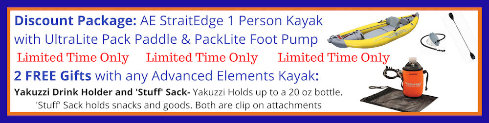 Advanced Elements StraitEdge 1 Person Inflatable Kayak Discount Packages and Free Gifts