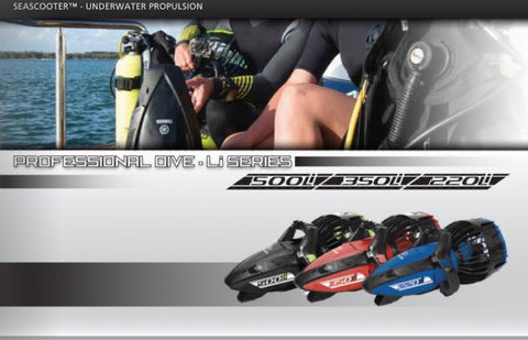 Yamaha Underwater Scooters for Sale Display Image.  The 3 Yamaha Professional Dive Series are featured:  The Yamaha 500Li Seascooter for sale, Yamaha 350Li Sea Scooter for Sale, and the Yamaha 220Li Seascooter for Sale.